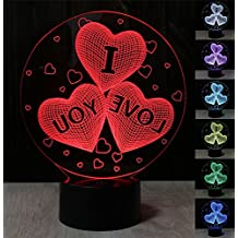 Romantico Ti amo Cuore 3D Lampade 7 colori Lampeggiante USB Powered Touch Switch Camera Nightlights per la fidanzata Regali di compleanno