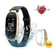 SAVFY Reloj Inteligente Mujer, Impermeable Pulsera Inteligente con Ritmo Cardíaco, Monitor de Sueño, Calorías, Podómetro, Despertador, Cámara y Música Control Pulsera Actividad Para Android y IOS
