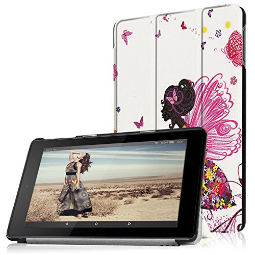 Hülle für Das neue Fire HD 8 Tablet (2016 / 2017 Modell), Smart Cover Case mit [Auto Schlaf / Wach] HZSSEC Ultra Dünn Superleicht Schutzhülle PU Leder Hülle für All-New Amazon Fire HD 8,0 Zoll Tablette, Engels Mädchen (Amazon Fire Tablet Tasche Für Mädchen)