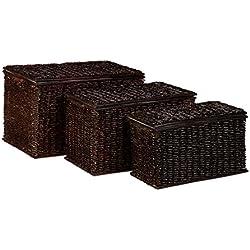Relaxdays – Conjunto de 3 cofres de almacenamiento, Palma de Buri y tela, 39 x 60 x 37,5 cm, 71 L, apilable, Cestas con tapa, trenzado, Color marrón chocolate