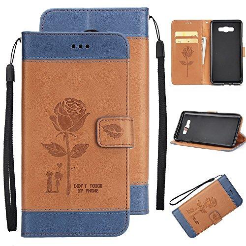Dual Color Matching Premium PU Leder Flip Stand Case Cover mit Card Cash Slots und Lanyard für Samsung Galaxy J710 ( Color : White ) Brown