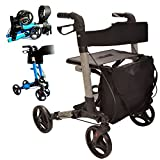 X Cruise Folding lightweight compact rollator walking frame with seat - choice of colours (Silver)