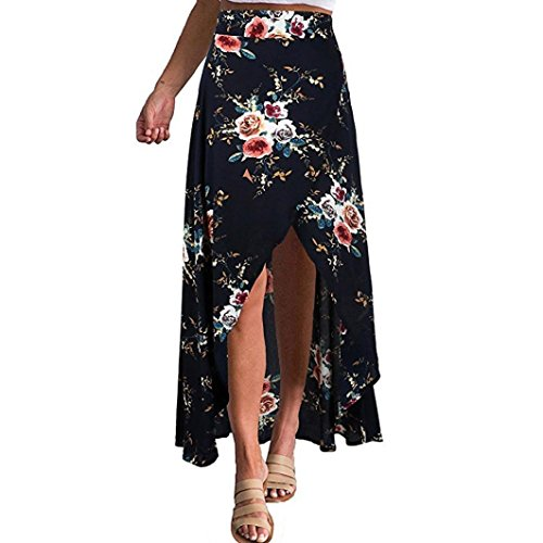 Clearance Women Skirt, Bestoppen Girls High Waist Boho High Split Chiffon Skirt Summer Asymmetrical Flower Print Long Skirt Casual Pencil Sandy Beach Skirts Dresses