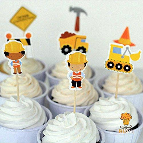 24Konstruktion Kuchen Topper Dump Trucks Cupcake Picks Fällen Kids Birthday Party Dekoration Baby Dusche Candy Bar