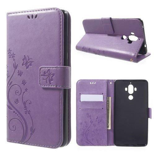 jbTec® Flip Case Handy-Hülle zu Huawei Mate 9 / MHA-L09 - Book Muster Schmetterlinge S16 - Handy-Tasche Schutz-Hülle Cover Handyhülle Ständer Bookstyle Booklet, Farbe:Flieder