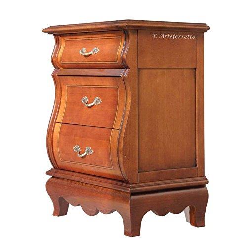 Comodino classico in legno sagomato con 3 cassetti intarsiati, robusto comodino per camera da letto, zona notte, alta qualità made in italy, fatto a mano. l.55 x p.37 x h.72 cm