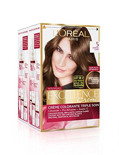 L'Oréal Paris - Excellence Crème - Coloration Permanente Triple Soin 100% Couverture Cheveux Blancs - Nuance 5 Châtain Clair - Lot de 2