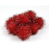 10 Red 45mm Tinsel Glitter Craft Pom Poms | Fluffy Acrylic Pompoms