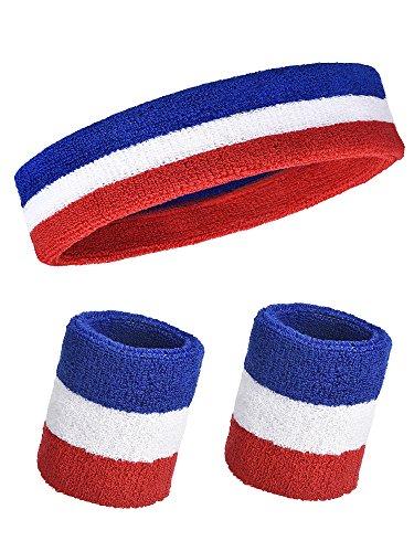 3 Stück Schweißbänder Set, Enthält Sport Stirnband und Handgelenk Schweißbänder Baumwolle Gestreift Schweißband für Sportliche Männer und Damen (Mehrfarbig)