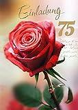 Einladungskarten 75. Geburtstag Frau Mann mit Innentext Motiv rote Rose 10 Klappkarten DIN A6 im Hochformat mit weißen Umschlägen im Set Geburtstagskarten Einladung 75 Geburtstag Mann Frau K128