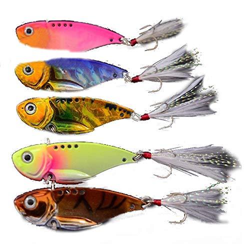 SLB Works 2X(Heng JIA 5pcs VIB Spoon Blade Metal Fishing Lure Bream Bass Flathead 5.5 R3Y4