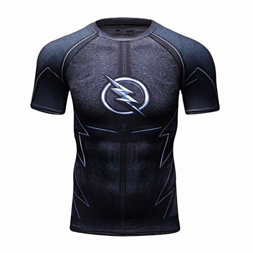 Cody Lundin maschile 3d eroe leggero stampato logo Top stretto sport uomo breve t-shirt manica (black, L)