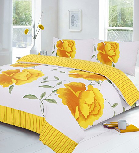 Goldstar® Polycotton Floral Duvet Quilt Cover bed Set (Double, Rosaleen Yellow)