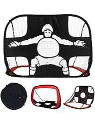 MOLPE Portería de Fútbol para Práctica, Ideal para Hacer Deporte y práctica en Interiores y Exteriores (110 cm x 80 x 80 cm,210D Tela de Oxford). (Red)