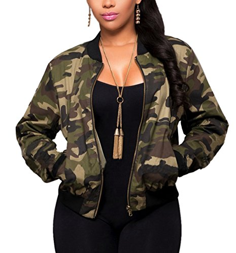 Sanyouletoo Damen Camouflage Jacke Blouson Fliegerjacke Army Übergangsjacke Sweatshirt Military-Stil Leichte Herbst Autumn Winter Zipper...