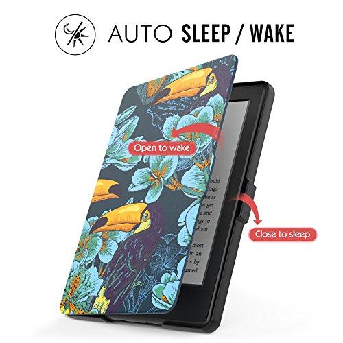 MoKo Étui de protection pour Kindle (8ème génération - modèle 2016) - étui Flip en cuir super fin et léger avec Auto Réveil / Veille pour Amazon Toute nouvelle Liseuse Kindle, Noir Z-Toucan oiseau