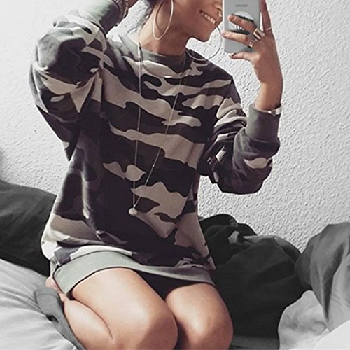 Dihope Femme Printemps Automne Pull Sweats-shirt Camouflage Tops à Manches Longues Col Rond camouflage