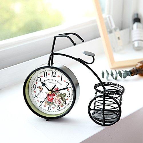 Chiffres arabes horloges murales 12 cm vélo décoration de la maison Style rétro muet grand cadran horloges à quartz pour salon/chambre à coucher porte-stylo à piles