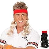 Amakando 80er Vokuhila Stirnband rotes Haarband mit Haarteil blond Proll Klapsband Prolet Haarteil Sportler Frisur Kostüm Zubehör Mottoparty Accessoire