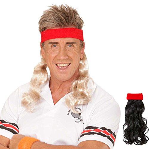 Kostüm Sportler Für Erwachsene - Amakando 80er Vokuhila Stirnband rotes Haarband mit Haarteil blond Proll Klapsband Prolet Haarteil Sportler Frisur Kostüm Zubehör Mottoparty Accessoire