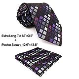 Shlax&Wing Checked Necktie For Men Seda Tie Set Morado Traje de negocios a cuadros Boda