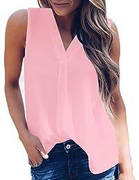 ab9b1f74be41 Top Damen Sunnyadrain Vests Reine Farbe Ärmellose Plus Größe Chiffon V-Neck  Bluse Pullover Shirts Casual T-Shirt…