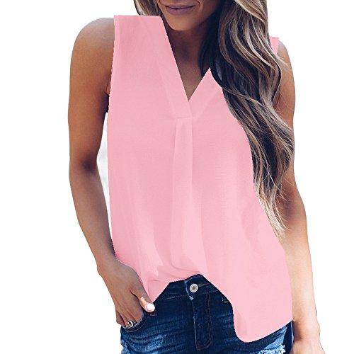 AMUSTER Bekleidung Damen Damen Sommer Chiffonbluse Frauen Sexy V-Ausschnitt Weste Mode Chiffon Bluse ärmelloses T-Shirt Blusentop Weiß (4XL, Rosa) -