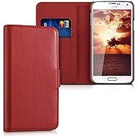 kalibri Leder Hülle James für Samsung Galaxy S5/S5 Neo/S5 Duos - Echtleder Schutzhülle Wallet Case Style mit Karten-Fächern in Rot