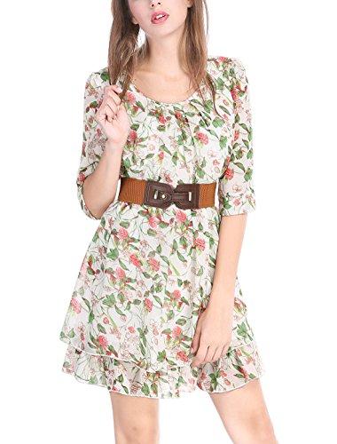 Allegra K Women 3/4 Sleeves Floral Layered Above Knee Chiffon Dress XS Green