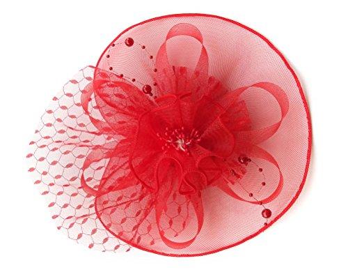 Damen Fascinator Haarclip Stirnband Spitze Schleier Blume Braut Kopfschmuck (Mardi Hut Gras)