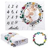 Chnaivy - Manta para bebé, diseño de hito mensual, para niños y niñas, manta de fondo de...