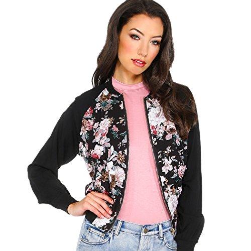 ZEARO Nouvelle Femme Veste Bomber Imprimé Floral Elégant Jacket/Blouson Bomber Vintage Motard Fermeture Eclair Manteau Multicolore