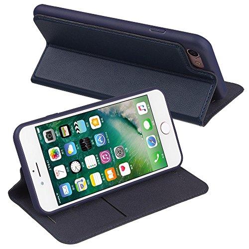 Nouske Custodia a portafoglio per iPhone 6 Plus/6s Plus Apple da 5.5 pollici con chiusura ripiegabile, oro Blu marina