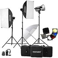 Neewer Flash de Photographie pour Studio 1200W(400W x 3) Kit Lumière Stroboscopique pour Photographie de Portrait, Studio et Shooting de Videos( MT-400AM)