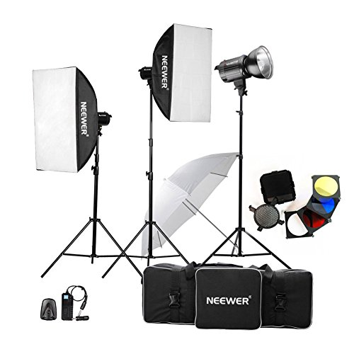 Galleria fotografica Neewer® 1200W (400W*3) Professionale Studio Fotografico Kit di Luce Stroboscopica Kit d'Illuminazione Monoluce per Ritratti, Foto e Video in Studio (MT-400AM)