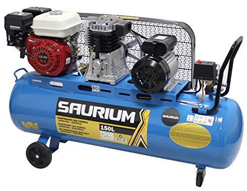 SAURIUM - Compresor de Aire - Con Correas - Gasolina + Eléctrico - 150L 5.5/3HP  - Ideal para trabajos...