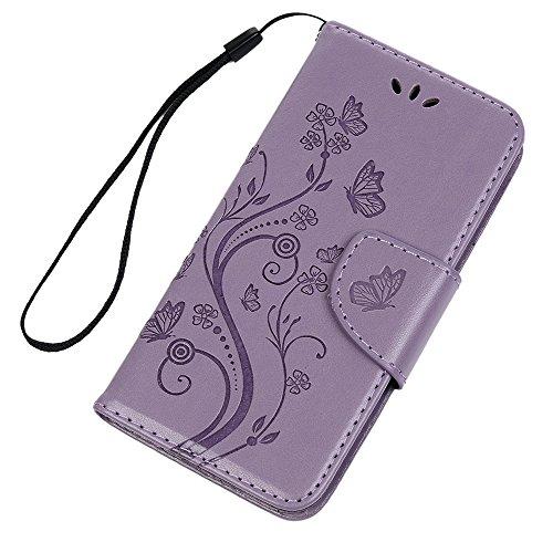 Badalink Hülle für iPhone 6 Plus/6s Plus Rosarot Schmetterling Handyhülle Leder PU Case Cover Magnet Flip Case Schutzhülle Kartensteckplätzen und Ständer Handytasche mit Eingabestifte und Staubschutz  Lila
