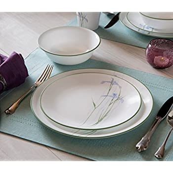 Corelle 18-Piece Vitrelle Glass Shadow Iris Chip and Break Resistant Dinner Set, Green/ Purple