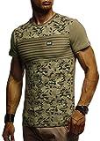 LEIF NELSON Herren T-Shirt Rundhals Ausschnit Sweatshirt Longsleeve Basic Shirt Hoodie Slim Fit LN405; XXL,Khaki