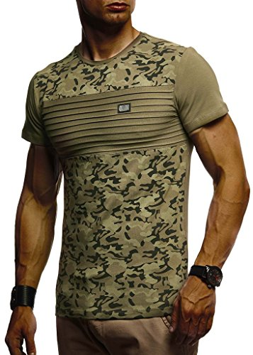 Leif Nelson Herren Sommer T-Shirt Rundhals-Ausschnitt Slim Fit Baumwolle-Anteil Moderner Männer T-Shirt Crew Neck Hoodie-Sweatshirt Kurzarm lang LN405 Khaki Large