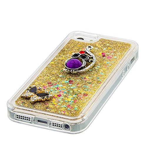 MOONCASE iPhone SE Coque, Glitter Sparkle Bling [Owl] Faux Diamant Dessin Motif Liquide Étui Coque pour iPhone 5 / 5S / SE Soft TPU Gel Souple Case Housse de Protection Or 04 Or 04
