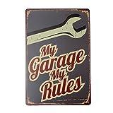 Lumanuby 1 póster de Pared, Metal Creativo, con Texto My Garage, My Rules, Placa Decorativa para Taller de automóviles, Garaje, Club de los Aficionados a la Moto, número de Bares, tamaño 20 x 30 cm