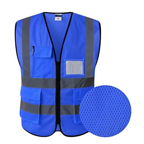 Hohe Sichtbarkeit Weste, Unisex-Qualitäts-Warnweste Für Männer Hallo Vis Sicherheitsweste Sicherheitsweste Verkehrsberufsbekleidung,c,L -