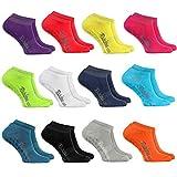 Rainbow Socks 12 Paar Kurze ANTIRUTSCH-Socken by Baumwollereiche STOPPERSOCKEN, ideal für: Glatte Fußböden Yoga Trampolinspringen MEHRFARBIG 42/43 Oeko-Tex-Zertifikat, Made in EU