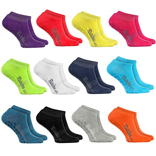 Short NON-SLIP Socks by RAINBOW SOCKS – Breathable LOW CUT Socks COTTON RICH Everyday Comfort Ideal for: Slippery Floors Yoga Trampolines|Many COLOURS For Women & Men Oeko –Tex Certificate, Made in EU
