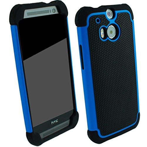 Outdoor Schutzhülle Blau für HTC ONE M8 Case inkl. Panzerglas 9H Outdoor Cover Hybrid Schutz Hülle Sturz Bumper Folie Schwarz Black Blue