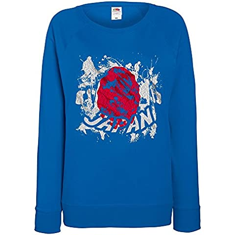 Bandiere Firmata Collezione 2, Fruit of the Loom Felpa Raglan Leggera da Donna Royal Womens Sweatshirt con Design Colorato. Taglia XS 36, S 38, M 40, L 42, XL 44, 2XL 46. - Vintage Firmata Giappone