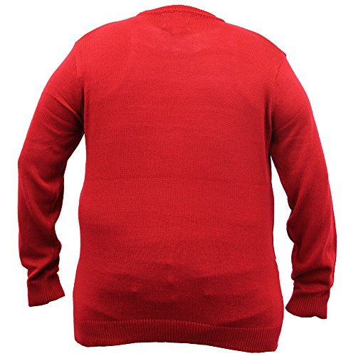 Pour Hommes Grand King Size 3D Pull De Noël D555 Duke tricoté Manchot Rudolph Musique Rouge - RUDOLPH