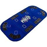 Maxstore Faltbare XXL Pokerauflage für bis zu 8 Spieler, Maße 160x80 cm, MDF Platte, 8 Getränkehalter, 8 Chiptrays, blau