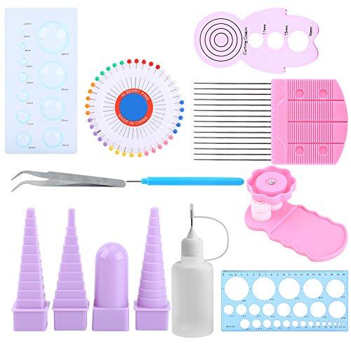 11 In 1 Papier Quilling Tools Kit DIY Papier Handwerk Crimper Kamm Herrscher Pins Border Buddy Set für Dekoration Lernspielzeug Spaß Weihnachtsgeschenk (Papier-perlen-handwerk Kit)